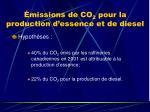 missions de co 2 pour la production d essence et de diesel1