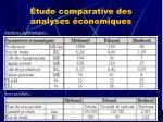 tude comparative des analyses conomiques