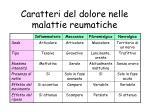 caratteri del dolore nelle malattie reumatiche