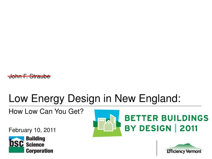 low energy design in new england n.
