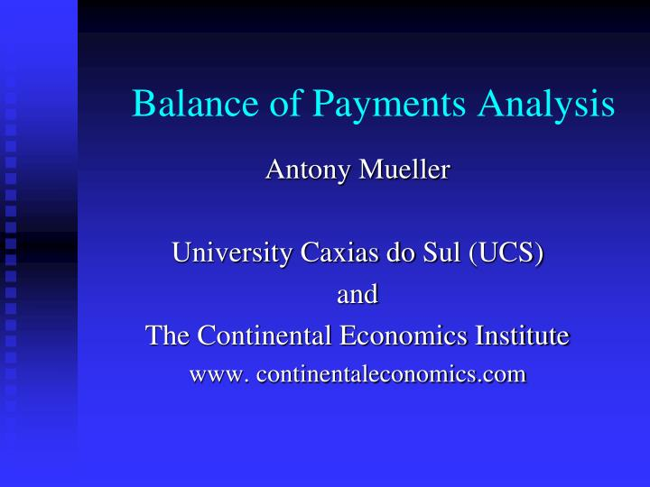 balance of payments analysis n.