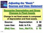 adjusting the basic sources and uses statement2