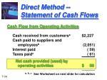direct method statement of cash flows
