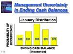 management uncertainty in ending cash balances