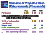 schedule of projected cash disbursements thousands