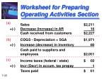 worksheet for preparing operating activities section