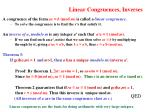 linear congruences inverses