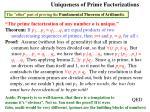 uniqueness of prime factorizations