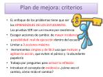 plan de mejora criterios
