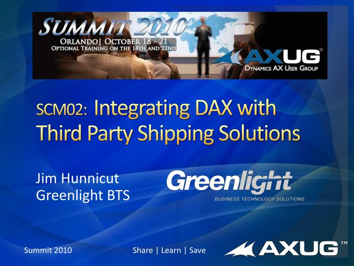 scm02 integrating dax with third party shipping solutions n.