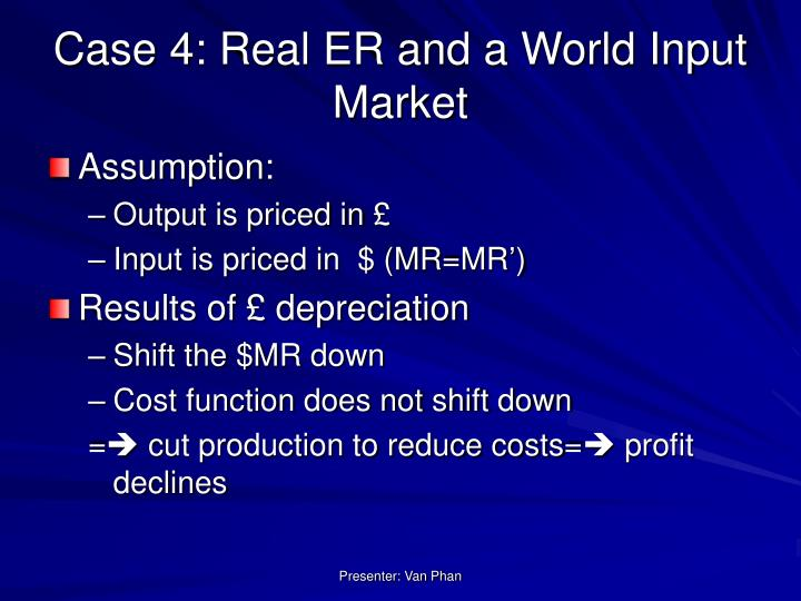 Case 4: Real ER and a World Input Market