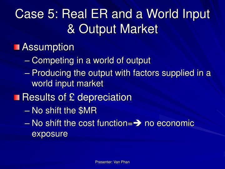 Case 5: Real ER and a World Input & Output Market