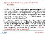 origines et fondements du pouvoir l gislatif limites