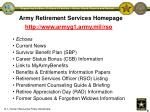 army retirement services homepage
