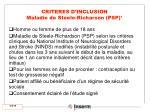 criteres d inclusion maladie de steele richarson psp