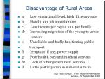 disadvantage of rural areas