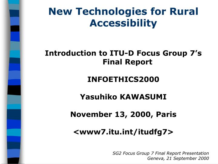 new technologies for rural accessibility n.