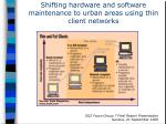 shifting hardware and software maintenance to urban areas using thin client networks