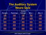the auditory system neuro quiz