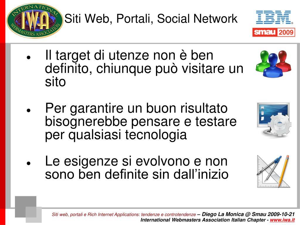 Siti Web, Portali, Social Network