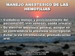 manejo anestesico de las hemofilias
