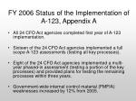 fy 2006 status of the implementation of a 123 appendix a