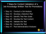 7 steps for content validation of a job knowledge written test for promotions