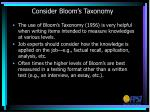 consider bloom s taxonomy