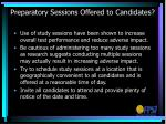 preparatory sessions offered to candidates