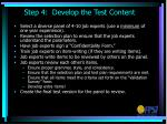 step 4 develop the test content