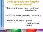 c mo se relaciona el respeto con otros valores