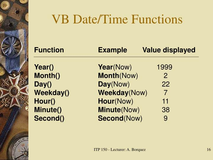 VB Date/Time Functions
