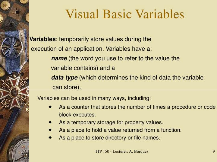 Visual Basic Variables