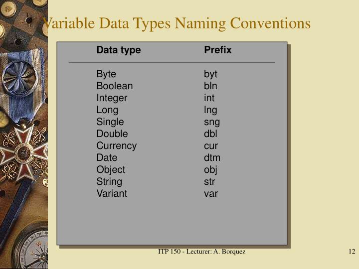 Variable Data Types Naming Conventions