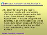 effective interactive communication is