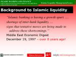 background to islamic liquidity