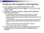 incidenza del trasporto sulla logistica