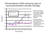 hiv prevalence in anc women by years of sexual activity before and after marriage