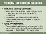 section 3 exclusionary practices