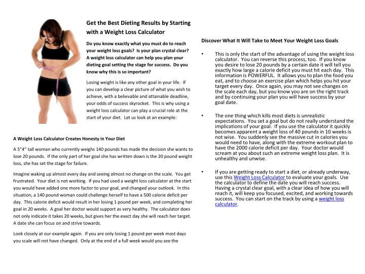 Discover What It Will Take to Meet Your Weight Loss Goals