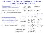 summary of governing equations 4 8 steady and inviscid flow