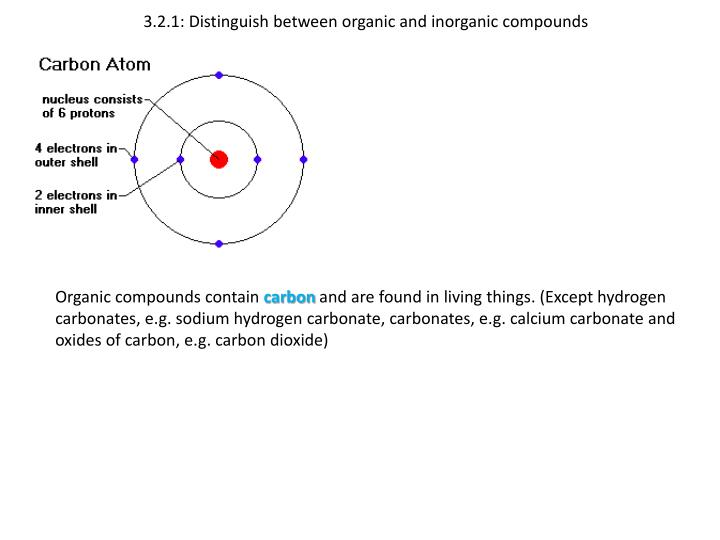 3 2 1 distinguish between organic and inorganic compounds n.