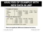 analysis of example with new data in jmp