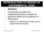 introduction to design of experimental doe