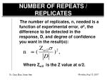 number of repeats replicates