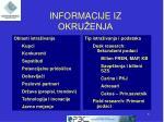 informacije iz okru enja