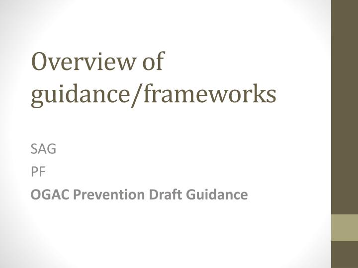 overview of guidance frameworks n.