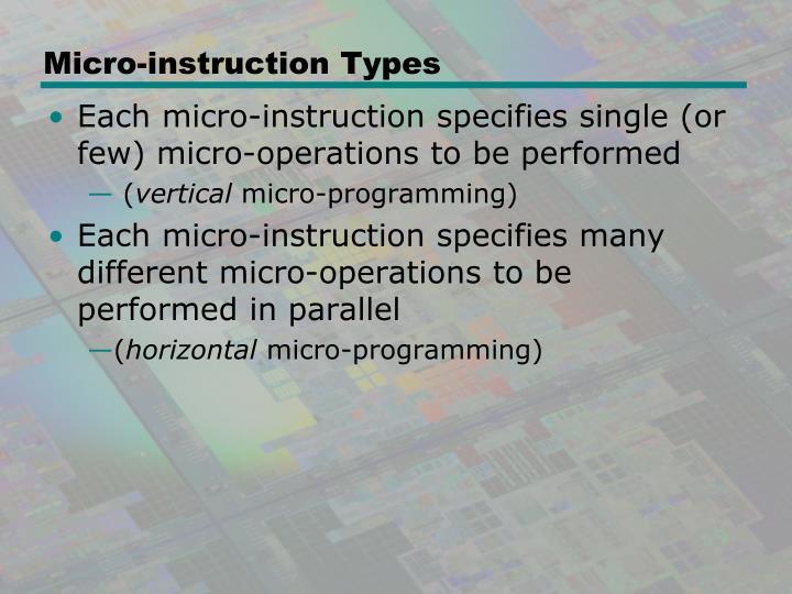 Micro-instruction Types