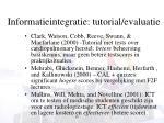 informatieintegratie tutorial evaluatie