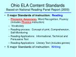 ohio ela content standards based on national reading panel report 2000